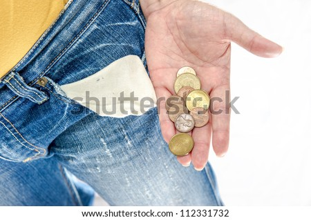 empty pocket, coins in hand, blue jean with white background
