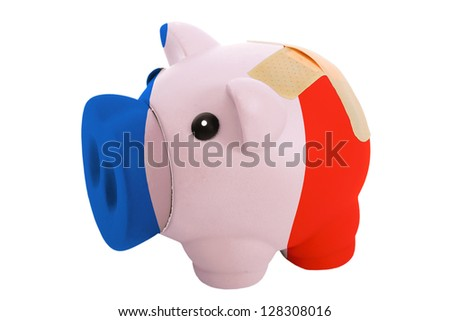empty poor man piggy rich bank in colors national flag of france on white