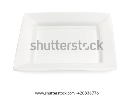 Empty porcelain square plate isolated on a white background - stock photo