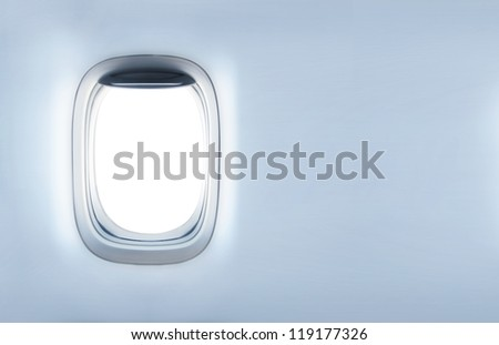 empty porthole and  place for text - stock photo