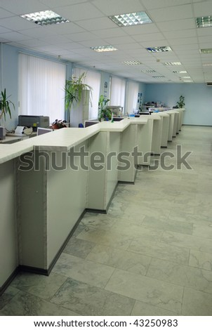 Empty premise of modern bank - stock photo