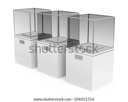 Empty Presentation Showcase isolated on white background - stock photo
