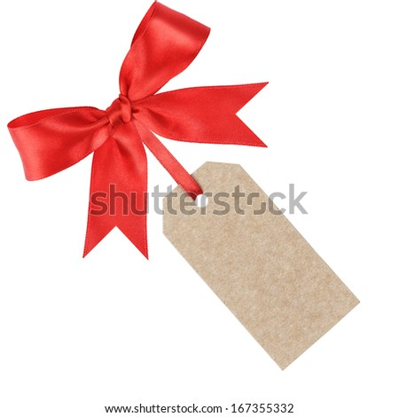 empty price tag with bow for holiday sale, isolated - stock photo