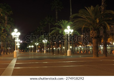 Empty promenade with night lamps, Barcelona, Spain - stock photo