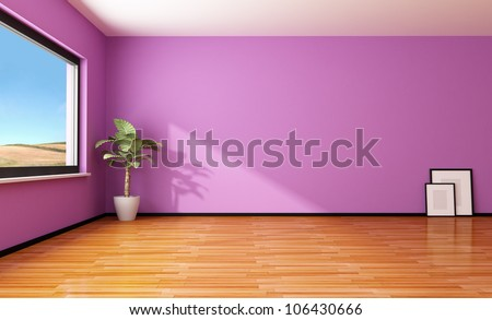 empty purple interior with plant and frame - rendering - stock photo