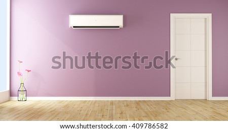 Empty purple living room with air conditioner and white door - 3d rendering - stock photo
