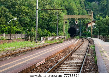Empty railroad tunnel in the rural countryside