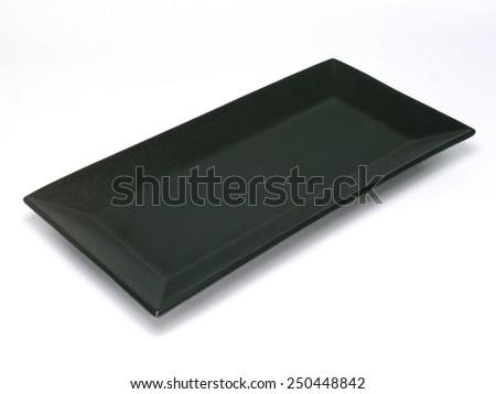 empty rectangular black plate isolated on white background  - stock photo