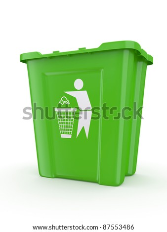 Empty recycle bin with sign recycling. 3d