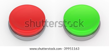 empty red and green buttons  (3d render) - stock photo