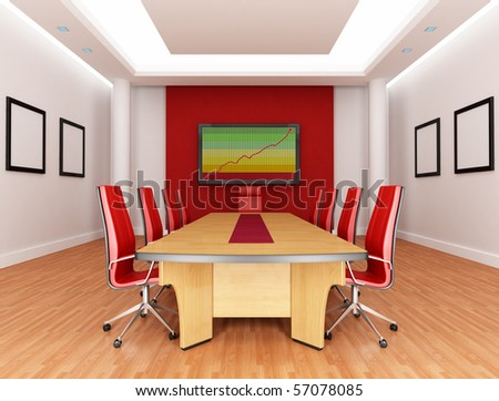empty red and white boardroom - rendering - the image on screen is a my composition - stock photo