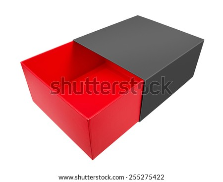 Empty red cardboard box isolated on white background - stock photo