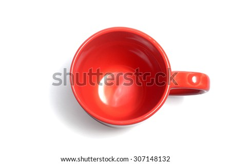 empty red color coffee cup on white top view - stock photo