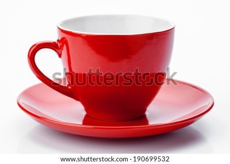 empty red cup isolated on white - stock photo