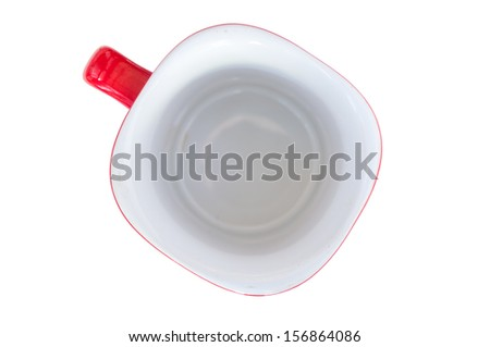 Empty red cup on a white background - stock photo