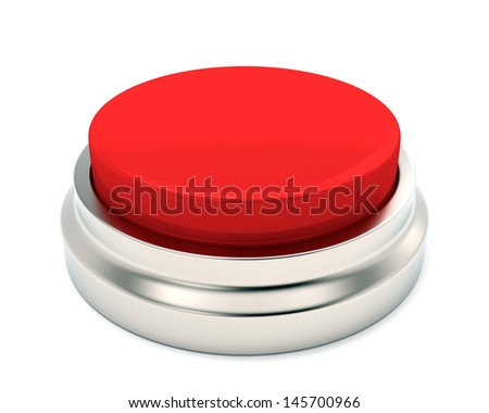 Empty red emergency button on white background