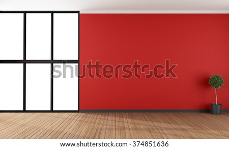 Empty red lounge with large window - 3D Rendering - stock photo