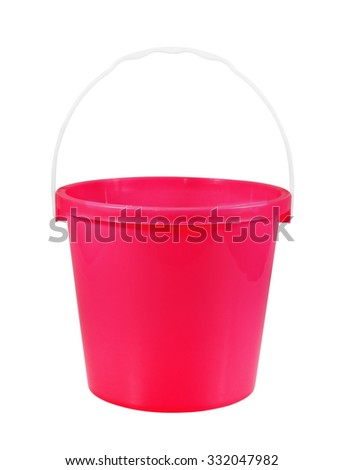empty red plastic household bucket  isolated on white background - stock photo