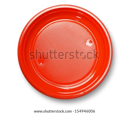 Empty red plastic plate with shadow on white ( with clipping path) - stock photo
