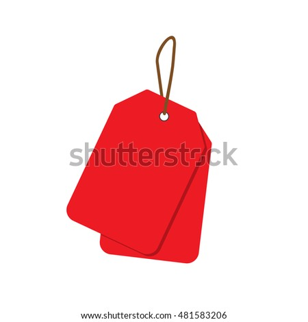 Empty red sale price tags set. Sale tag. Raster illustration.