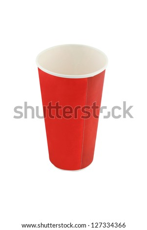 Empty red soda beverage paper cup on white background.