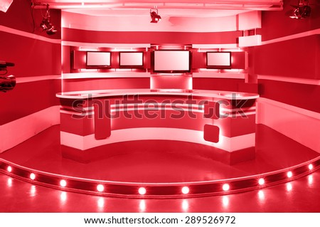 empty red television studio ready for work - stock photo