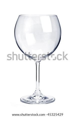 Empty red wine glass isolated on white background - stock photo