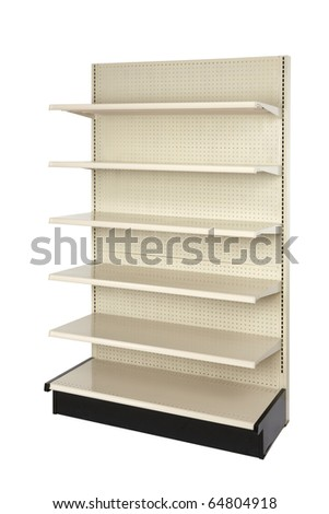 Empty retail store shelf shot in studio and silhouetted - stock photo