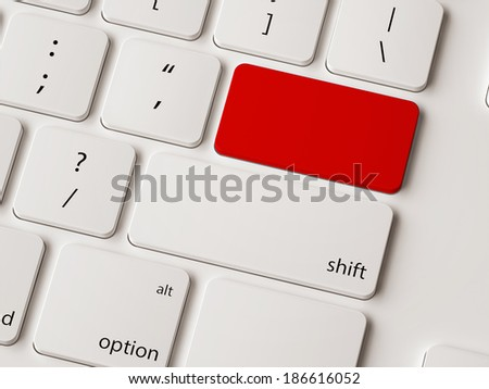 Empty return button on white modern keyboard.