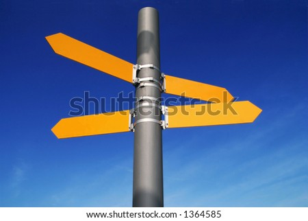 Empty Road Direction Signs - stock photo