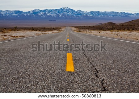 Empty road on Extraterrestrial highway, Nevada, USA - stock photo