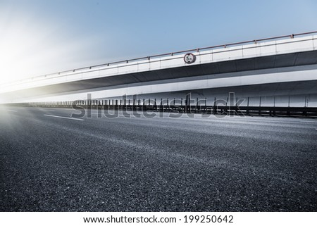 empty road, overpass of shanghai china. blue toned iamges. - stock photo