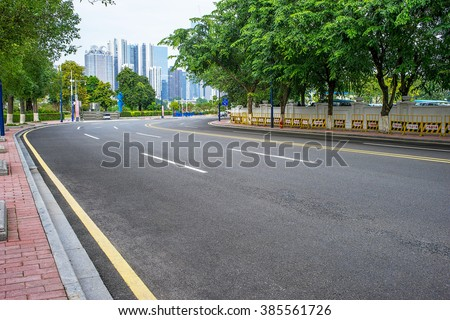 empty road scene - stock photo