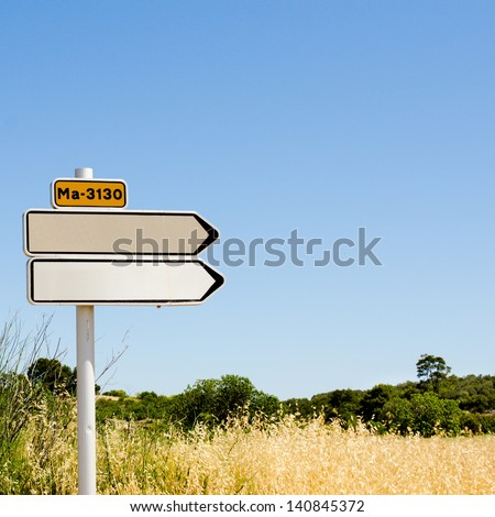 Empty road sign in yellow wheat grass field over perfectly clear blue sky background pointing to the right direction - stock photo