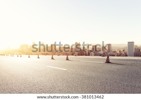 empty road with cityscape of San Francisco background - stock photo