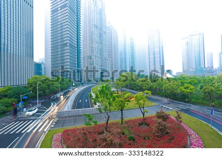 Empty road with Shanghai Lujiazui modern city buildings background  - stock photo