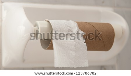 Empty roll of toilet paper mounted on a tiled wall - stock photo