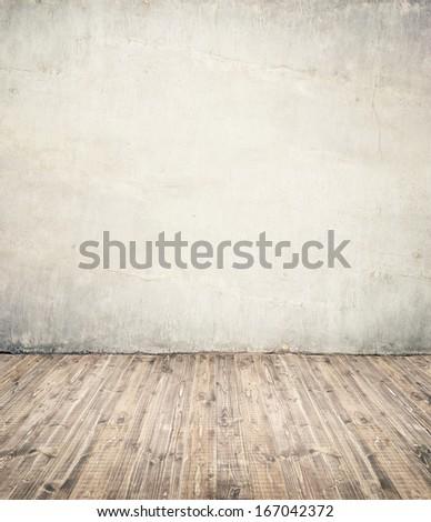 Empty room background. Wall ant wooden floor. - stock photo
