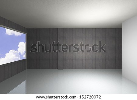 Empty room, bare concrete wall and reflecting floor, blue sky background - stock photo