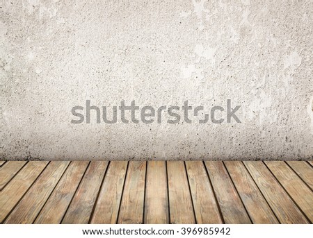 Empty room. Bright wall and wooden floor - stock photo