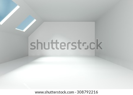 Empty Room decorated white wall and ceiling window