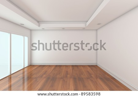 Empty Room decorated white wall and wood floor with glass doors