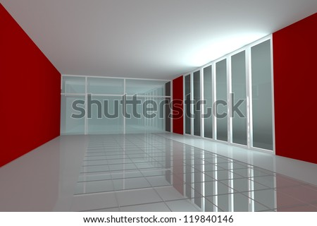 Empty room for interior seminar room color red wall - stock photo
