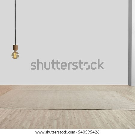 Empty room, gray wall interior design living room, modern lamp, carpet and parquet