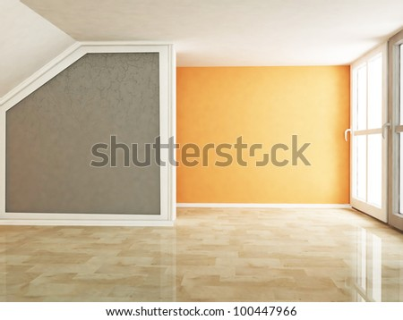 empty room in warm colors - stock photo