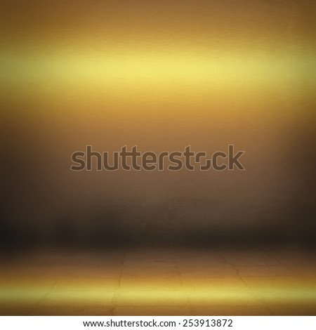 empty room interior abstract background, gold metal texture - stock photo
