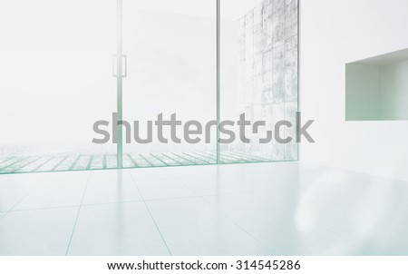 Empty room interior with extensively glazed facade. 3d Rendering. - stock photo