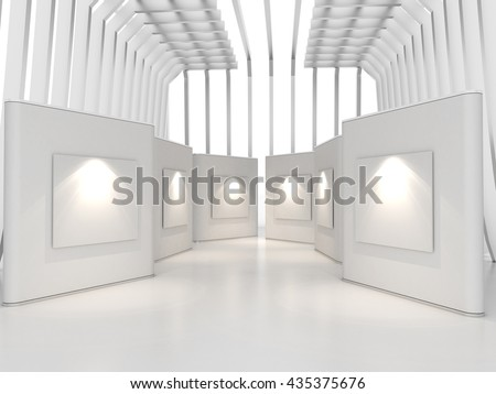 Empty room interior with large white canvas on white wall in the gallery, 3D Rendering