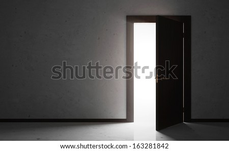 Empty Room Interior with Opened Wooden Door. (Animation for this image see in my footage gallery) - stock photo