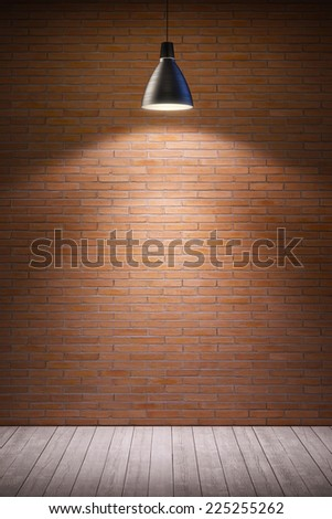 empty room interior with turn on lamp - stock photo